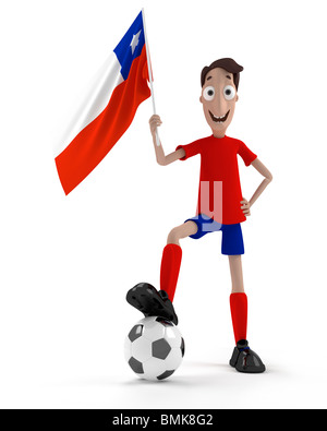 Smiling cartoon style soccer player with ball and Chile flag - Stock Photo