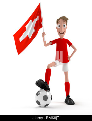 Smiling cartoon style soccer player with ball and Swiss flag - Stock Photo