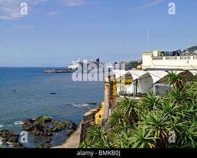 Cruise ships moored in the harbour from Fort Sao Tiago Funchal Madeira Portugal EU Europe - Stock Photo