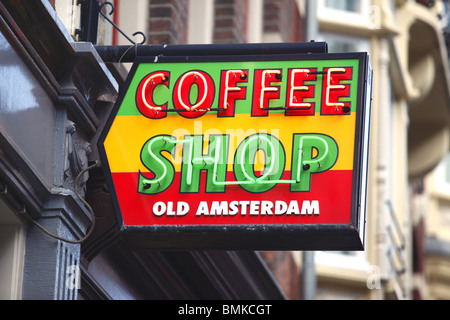 Amsterdam coffee shop sign, Holland. - Stock Photo
