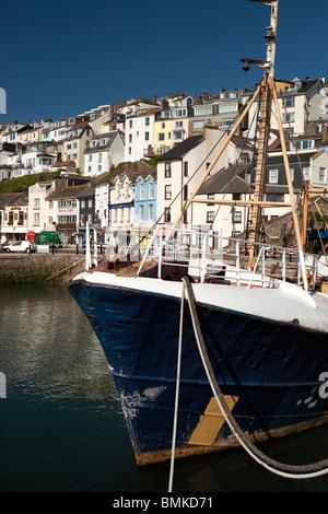 UK, England, Devon, Brixham fishing boat moored in the harbour - Stock Photo