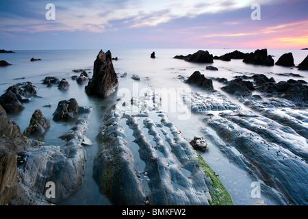 Bantham Bay at Sunset, Devon, UK - Stock Photo