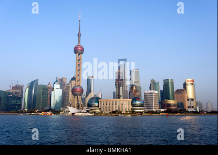 View on the Huangpu river waterfront and city skyline, Shanghai, China - Stock Photo