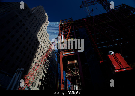 Construction work on One World trade Centre which is being built on the Ground Zero site in New York City. - Stock Photo