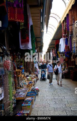 Jerusalem Old City market  - Lanes - Stock Photo