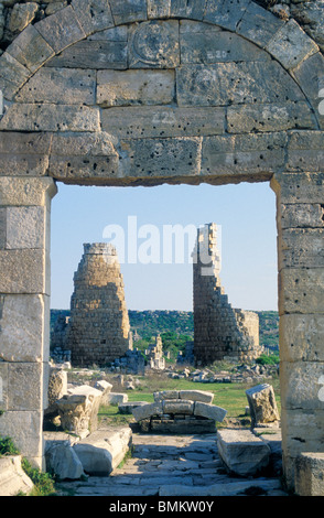 ROUND TOWERS, ANTIQUE MEDIEVAL CITY, HELLENIC TOWN GATE, RUINS, PERGE, TURKEY - Stock Photo