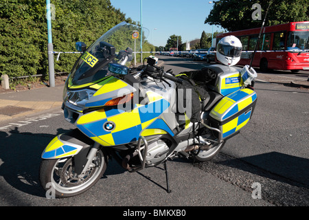 A Metropolitan Police motorcycle being used as a road block in West London, June 2010. - Stock Photo