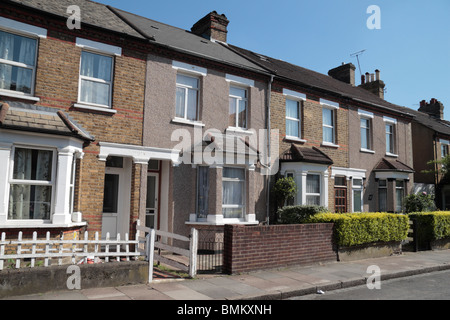 Typical late Victorian houses (built approx 1900) in a West London side street, Jun 2010. - Stock Photo