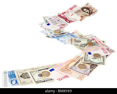 Pathway of different money currency isolated with clipping path - Stock Photo