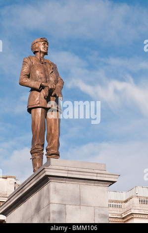 Statue of Air Chief Marshall Sir Keith Park, Trafalgar Square, London, England - Stock Photo