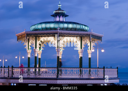 Illuminated bandstand, Brighton, East Sussex, United Kingdom - Stock Photo