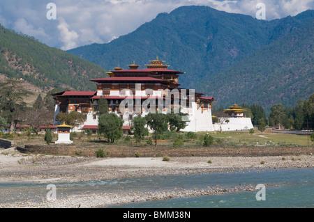 The Tsong , fortress monastery of Punakha, Bhutan, Asia - Stock Photo