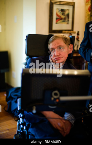 Stephen Hawking is a British theoretical physicist. He is the Lucasian Professor of Mathematics at the University - Stock Photo