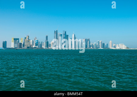 Skyline of West Bay, Doha, Qatar (photo taken 12 February 2010, 'close-up' view taken from The Corniche) - Stock Photo