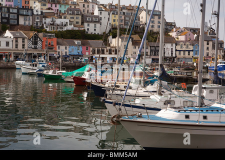 UK, England, Devon, Brixham, small boats moored in the harbour - Stock Photo