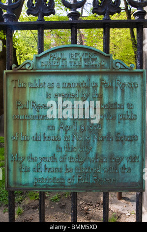 Paul Revere memorial plaque at the Granary Burial Ground on the Freedom Trail, Boston, Massachusetts - Stock Photo