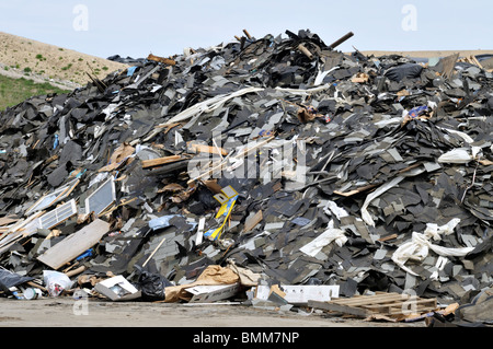 Mound of construction debris at landfill in Bourne Massachusetts - Stock Photo