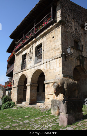 Palace on Plaza Mayor, Santillana del Mar, Cantabria, Spain - Stock Photo