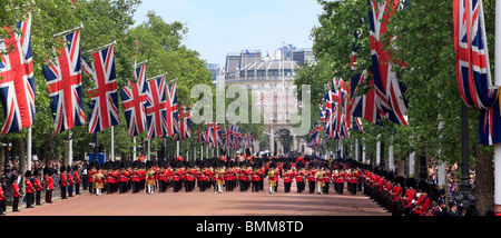 The Mall in London during Trooping of the Colour, Queen Elizabeth official Birthday Celebrations . - Stock Photo