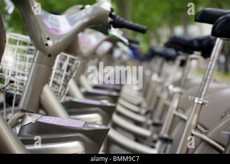 Vélib bikes, Paris, France - Stock Photo