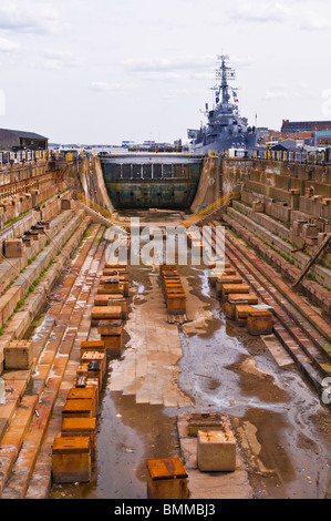 Dry dock at the USS Constitution Museum on the Freedom Trail, Charlestown Navy Yard, Boston, Massachusetts - Stock Photo