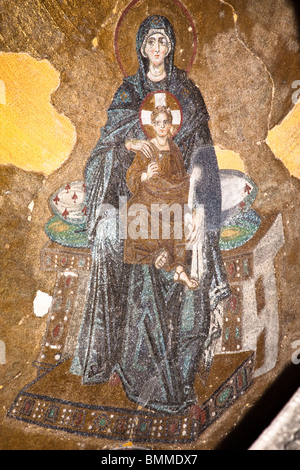 Mosaic of the Virgin Mary and Jesus Christ, Haghia Sophia Mosque, Istanbul, Turkey - Stock Photo