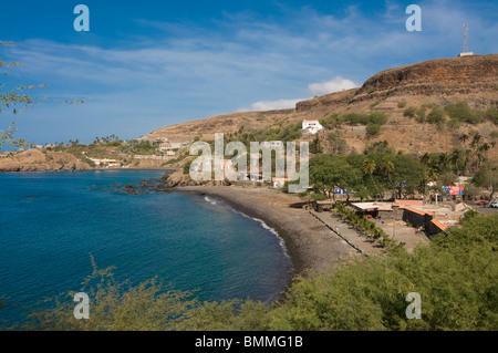 View over Ciudad Velha and the coast. Cidade Velha. Santiago. Cabo Verde. Africa. - Stock Photo