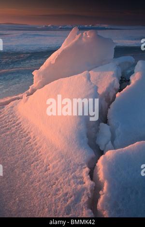 Ice formations at Larkollen in Rygge kommune, Østfold fylke, Norway. - Stock Photo
