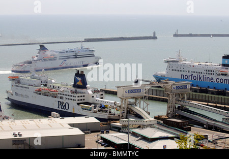 Seafrance company cross channel ferry Moliere manoeuvring in Dover Harbour Kent England UK - Stock Photo