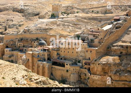 Israel, Judaea Desert, Wadi Kidron, The Great Lavra of St. Sabas (also Mar Saba) - Stock Photo