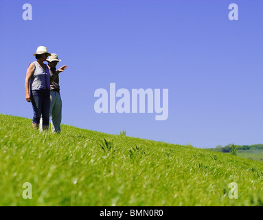 People walk through a field in the Marshwood Vale, Dorset, England - Stock Photo