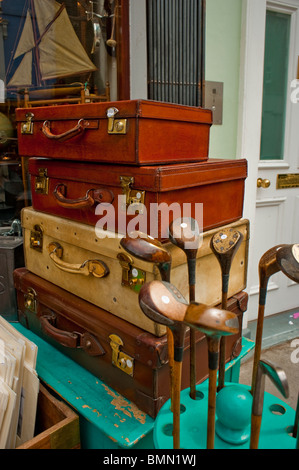 London, England, UK, Old Suitcases Piled up on Display outside local at Thrift Store, Portobello Road, second hand - Stock Photo