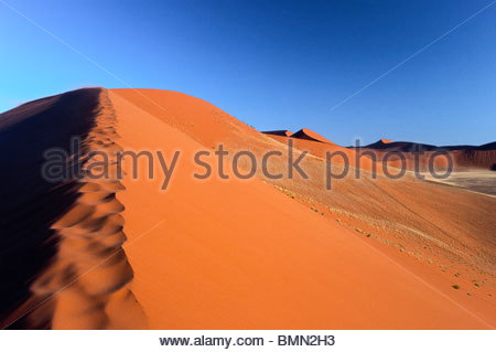 Namibia - Namib Naukluft Park - Famous dune n°45 located between Sossusvlei and Sesriem - View from top of the dune. - Stock Photo