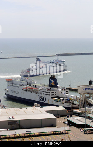 Seafrance company cross channel ferry Moliere manoeuvring alongside P&O ship Pride of Burgundy in Dover Harbour - Stock Photo