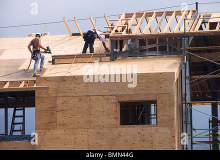 Carpenters working in the roof a new building, California, USA - Stock Photo