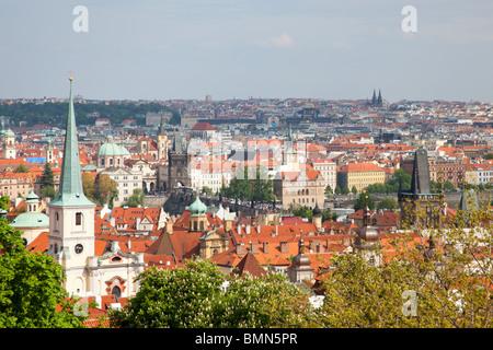 View from the grounds of Prague Castle (Pražský hrad) Czech Republic - Stock Photo