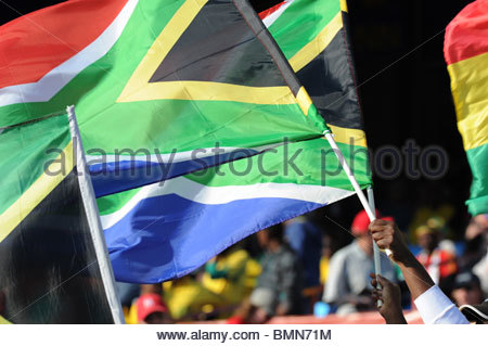 Pretoria South Africa 13-6-2010: World Cup football South African flags. - Stock Photo