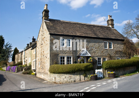 Cottages, Froggatt, Peak District, Derbyshire, England, UK - Stock Photo