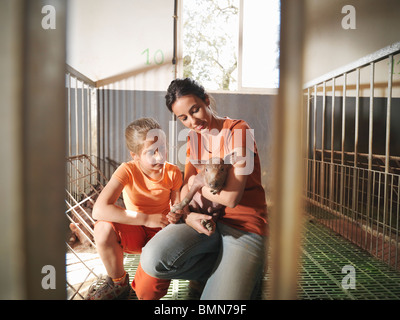 Woman and child in pen holding a piglet - Stock Photo