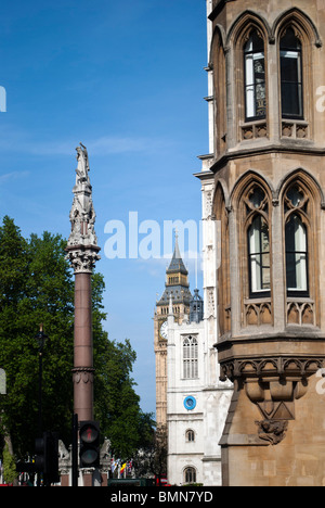 Westminster Abbey and Trafalgar square view from Victoria street, with St Margaret's church and Big Ben in the background - Stock Photo