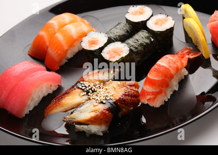 set of Japanese sushi on a plate - Stock Photo