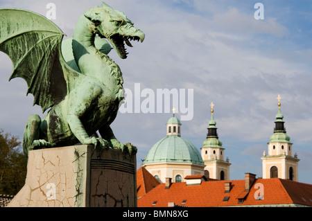 Elk191-1216 Slovenia, Ljubljana, Dragon Bridge - Stock Photo