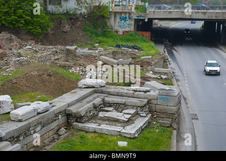 Theatre of Ancient Philippopolis next to road central Plovdiv Bulgaria Europe - Stock Photo