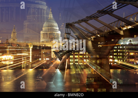 St Paul's Cathedral and Millenium Bridge at night in London. This image achieved by altering focal length twice - Stock Photo