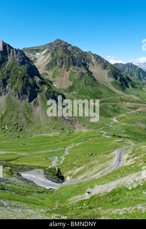 view from col du tourmalet looking west - Stock Photo