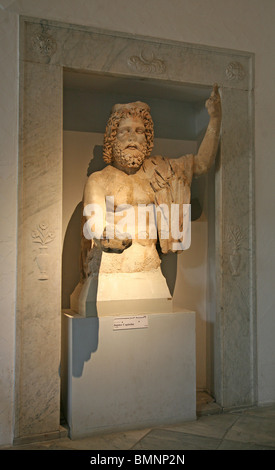 statue of Jupiter Capitolin in the Bardo Museum marble taken from Carthage in the capital city Tunis Tunisia North - Stock Photo