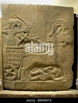 War Chariot  Neo Hittite 1000 BC 800 BC from Orthostat Karkamis Gaziantep   Anatolian Museum Ankara - Stock Photo