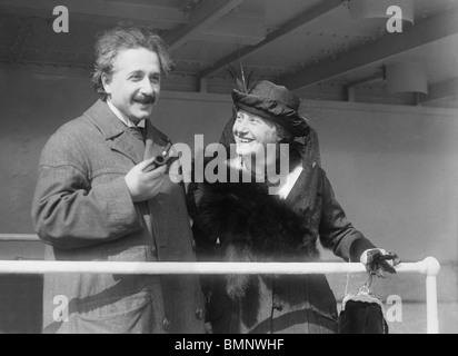 Photo circa 1920s of German theoretical physicist Albert Einstein (1879 - 1955) and his wife Elsa (1876 - 1936). - Stock Photo