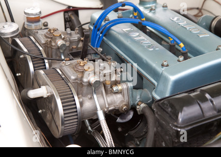 Engine in a Ford Lotus Cortina classic car - Stock Photo