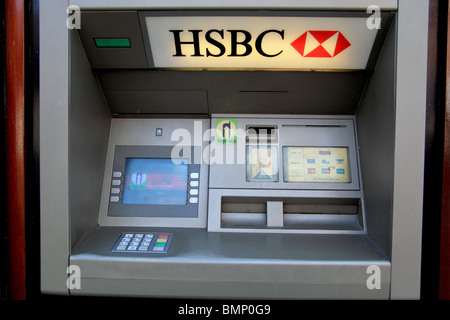 HSBC ATM machine in Market Drayton, Shropshire - Stock Photo
